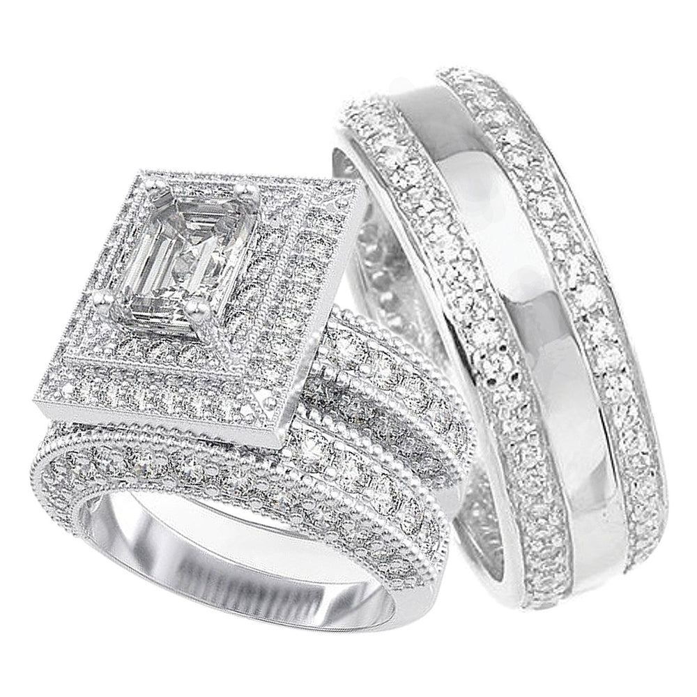 His and Her Matching Wedding Set - STERLING SILVER Wedding Rings for Him and Her
