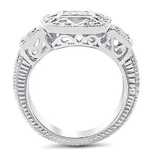 SALE!  Sterling Silver Cubic Zirconia CZ Art Deco Engagement Ring