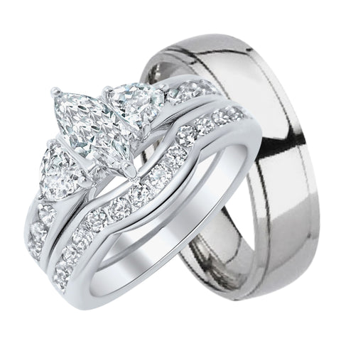 Inexpensive His and Her Wedding Ring Sets - Look Real Not Cheap