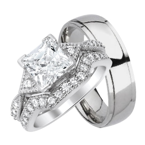 his titanium and hers sterling silver wedding band rings set looks - Cheap Wedding Ring Sets For Her