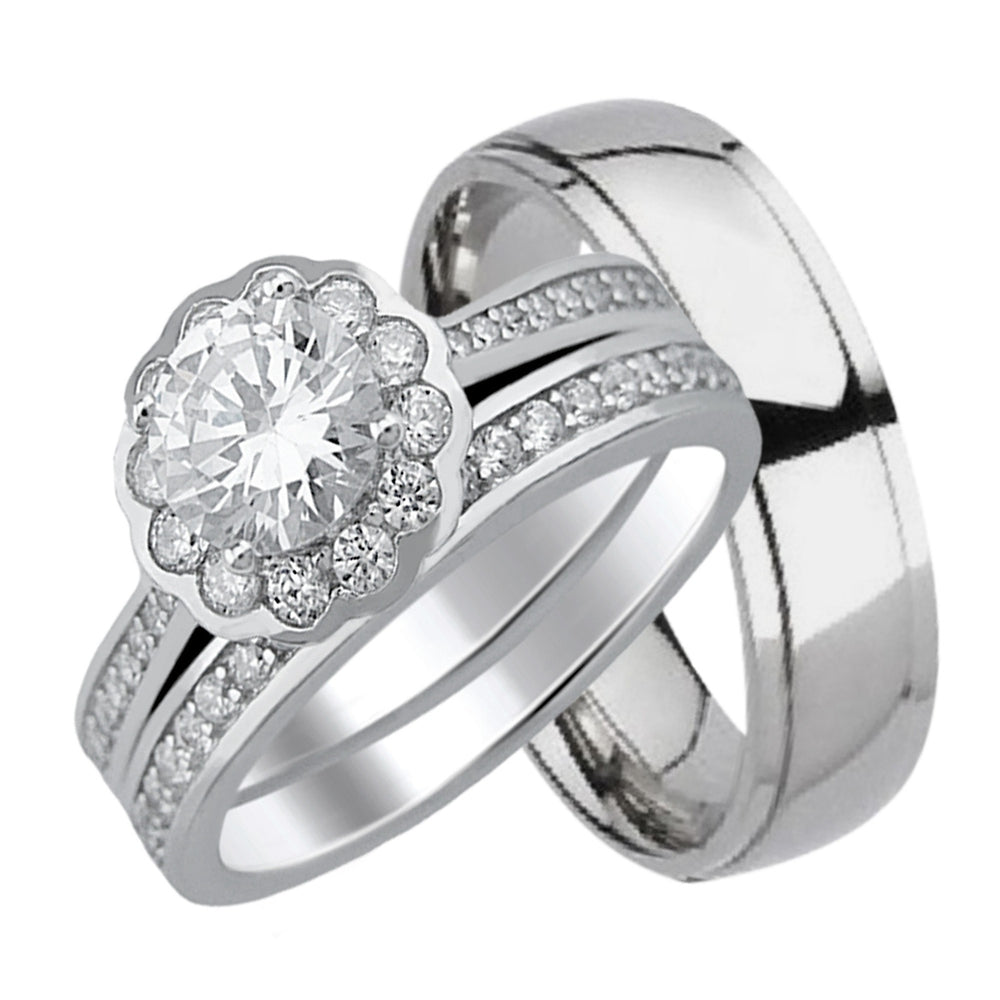 His (Titanium) Wedding Band Hers (Silver) Wedding Ring Set Looks Real Not Cheap