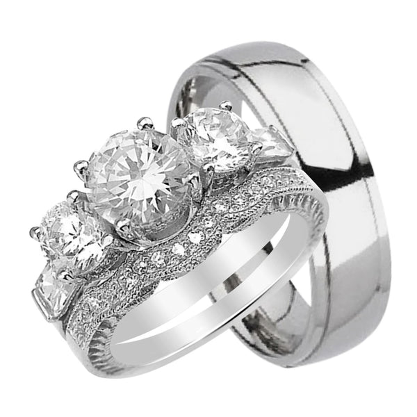 His & Hers Matching CZ Wedding Ring Set Sterling Silver & Titanium