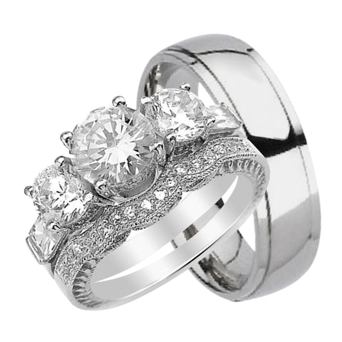 his hers matching cz wedding ring set sterling silver titanium - Cheap Wedding Ring Sets For Her