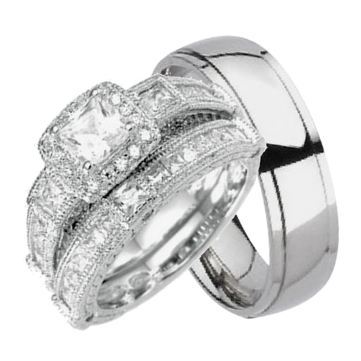 His and Hers Wedding Rings Set Matching Bands For Him Her