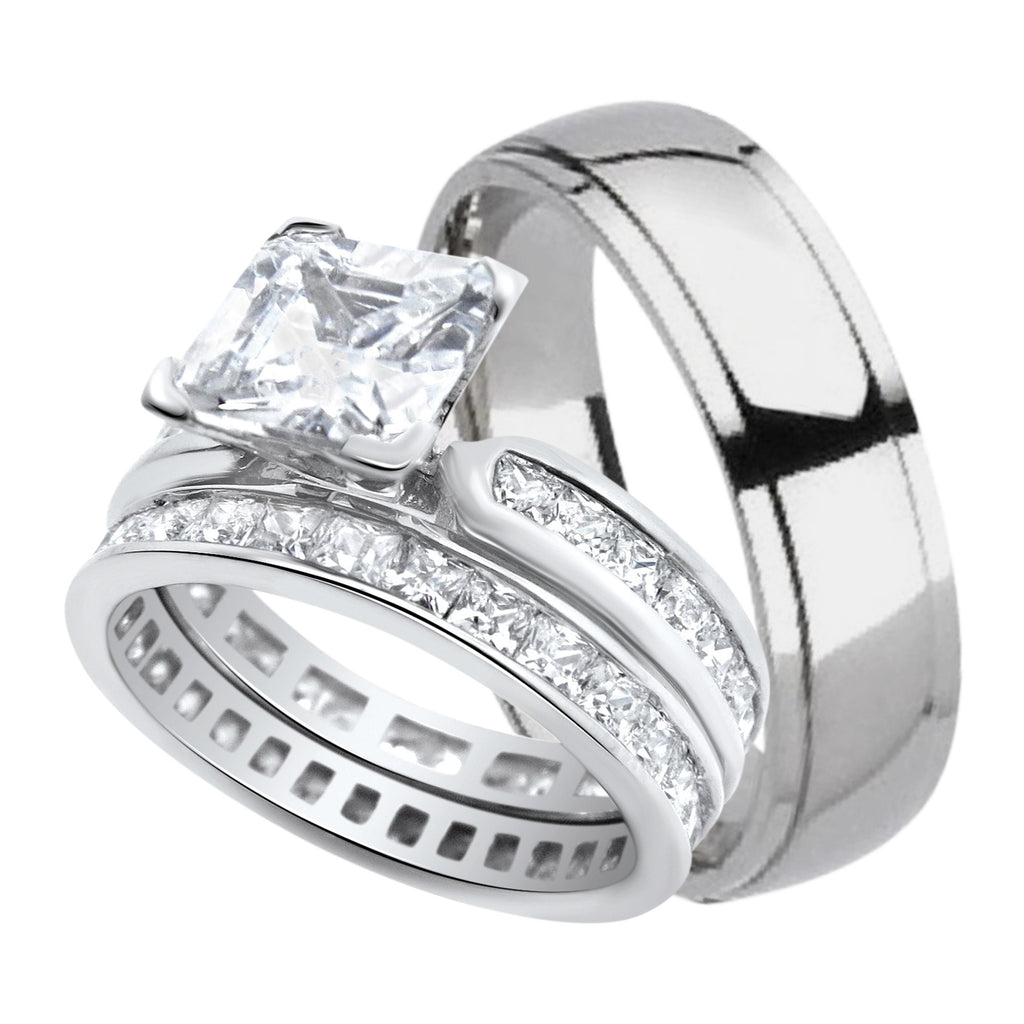 His and Her Wedding Ring Band Set for Him (Titanium) and Her ...