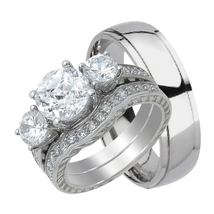 His and Hers TRIO Wedding Set - HERS - Sterling Silver - HIS -Titanium
