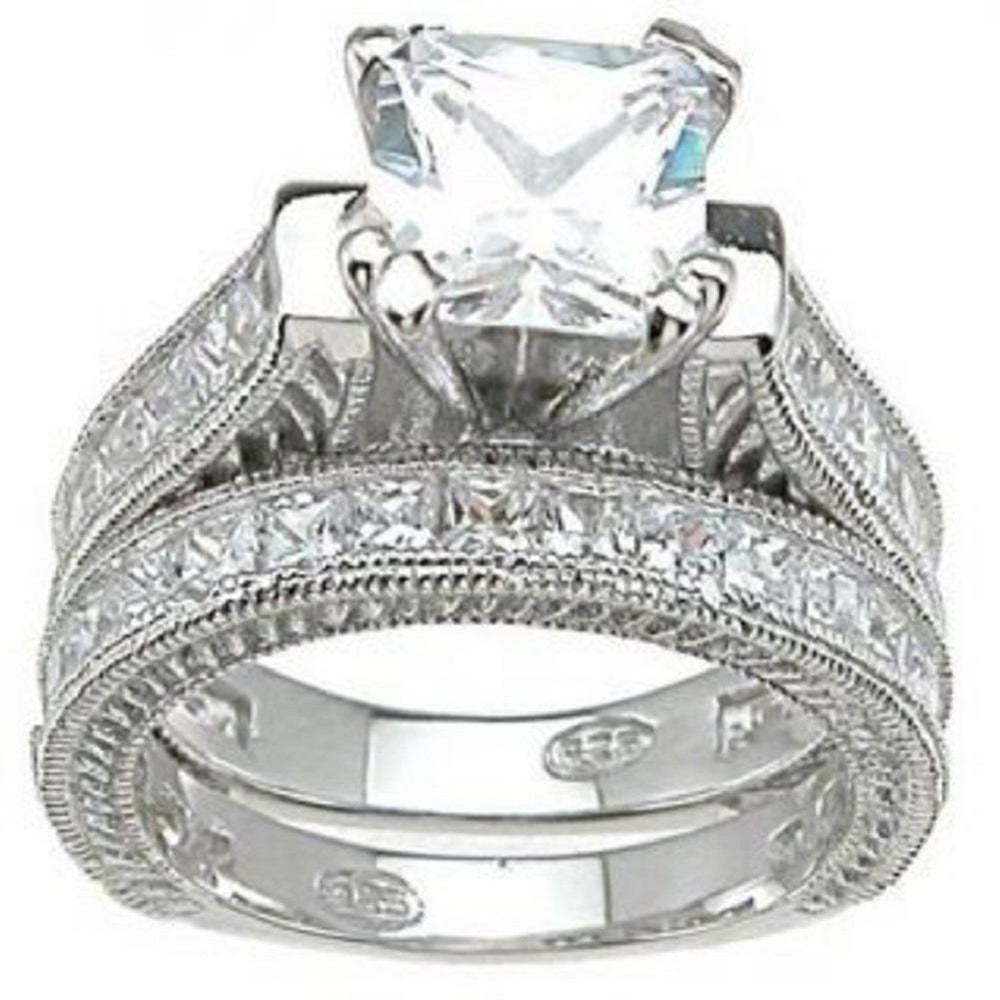 Princess Cut CZ Sterling Silver Wedding Engagement Ring Set