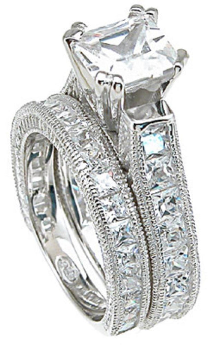 Princess Cut Cubic Zirconia Wedding Engagement Ring Set