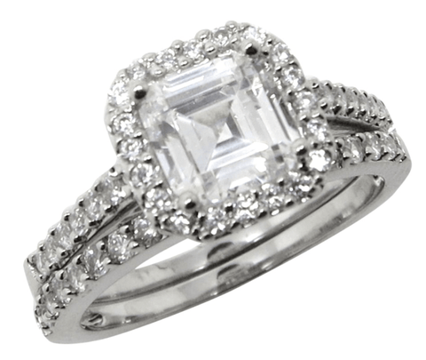 Asscher Cut Halo Setting CZ Wedding Set - LaRaso & Co - 1