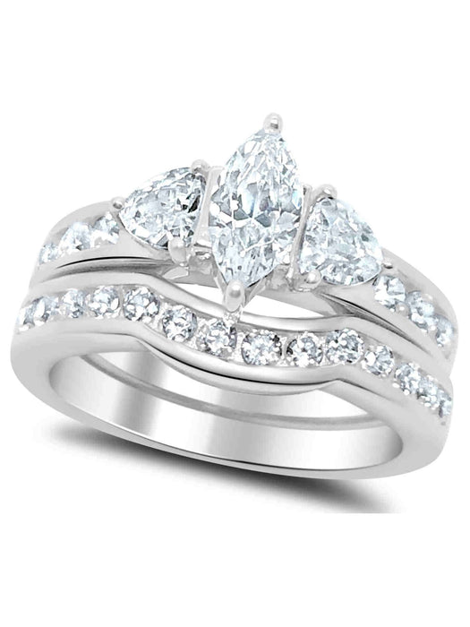 His Hers Wedding Ring Set Marquis Engagement Couples Promise Rings Her 7 Him 11