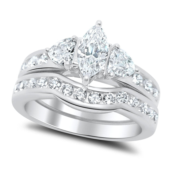 Marquise Cut CZ Wedding Ring Set Sterling Silver