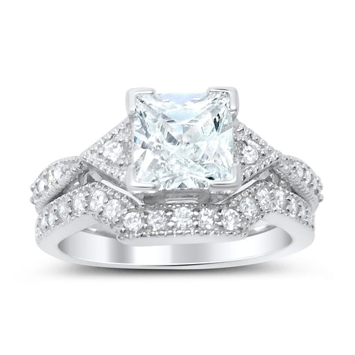 Princess Cut Cubic Zirconia Wedding Set - LaRaso & Co - 1