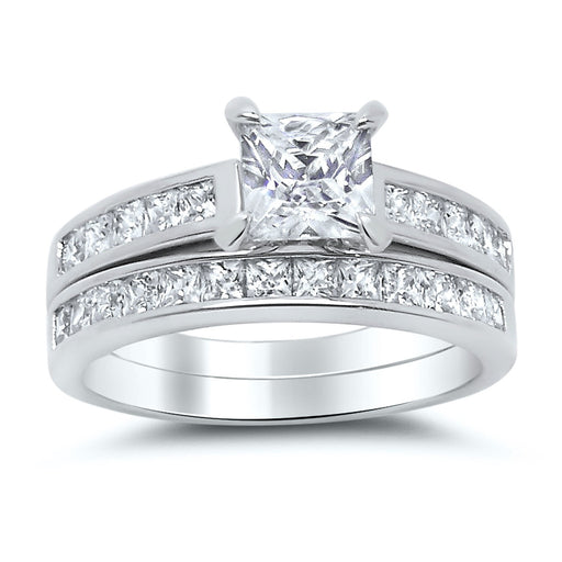 1 Carat Princess Cut Sterling Silver CZ Wedding Ring Set