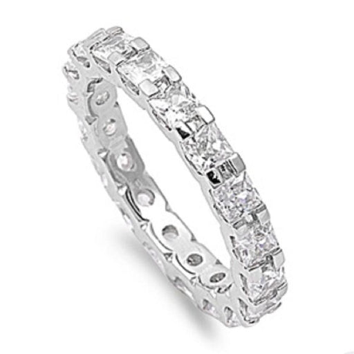 SALE!  Sterling Silver Cubic Zirconia Wedding Band Anniversary Ring
