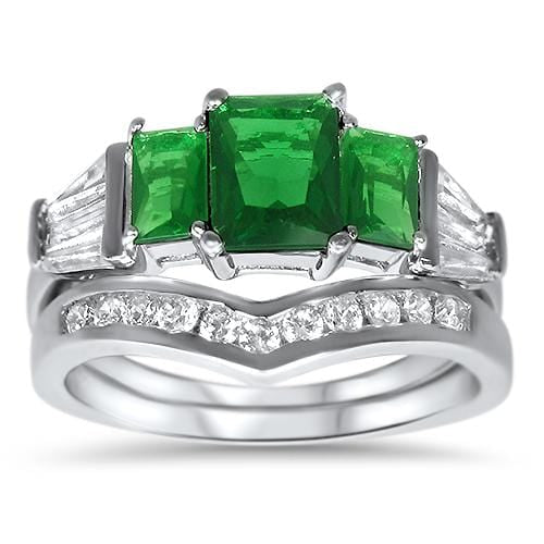 Simulated Emerald Green Sterling Silver Wedding Engagement Ring Set