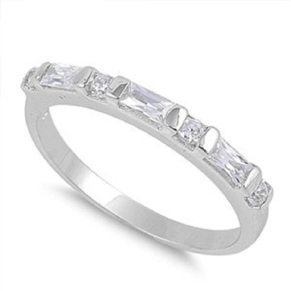 SALE!  Sterling Silver Dashes and Dots CZ Wedding Band Ring