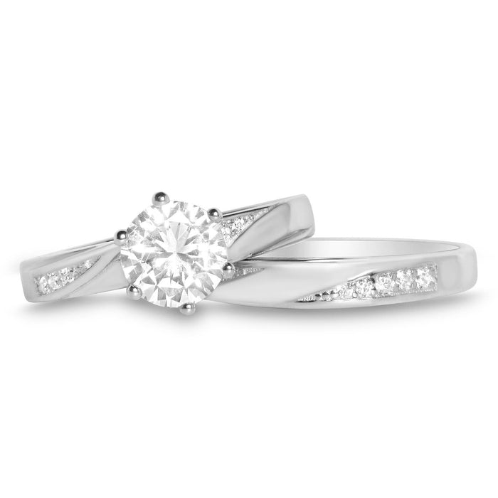 His and Hers Wedding Ring Set HERS - Sterling Silver - HIS - Stainless Steel