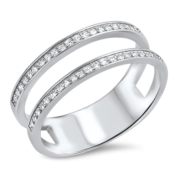 Double Sterling Silver Wedding Band Guard Ring Wrap CZ