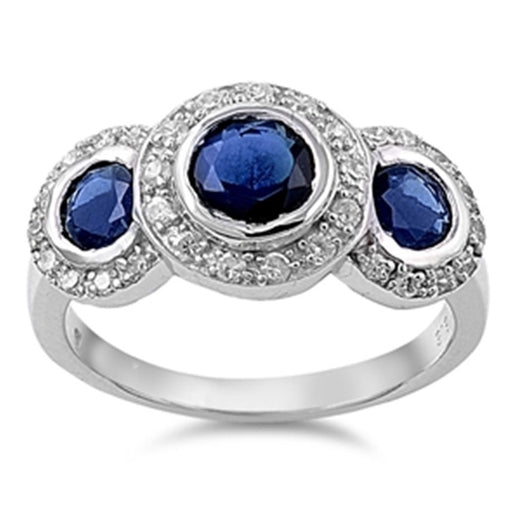 Vintage Style Triple Halo Simulated Sapphire Sterling Silver Ring - LaRaso & Co - 1