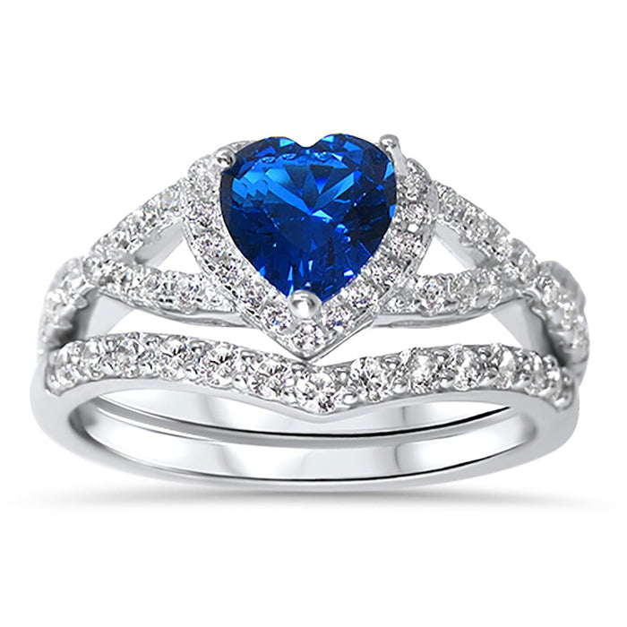 1 Carat Simulated Sapphire Heart CZ Wedding Ring Set in Sterling Silver for Women