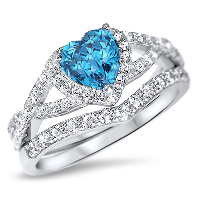 1 Carat Simulated Blue Topaz Heart CZ Wedding Ring Set in Sterling Silver for Women