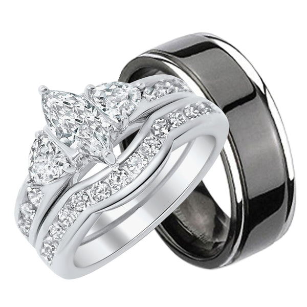 inexpensive his and her wedding ring sets look real not cheap - Cheap Wedding Ring Set