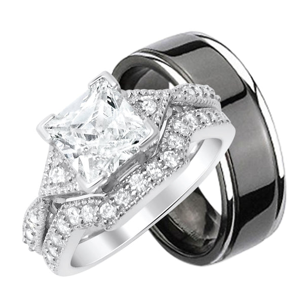His Black Titanium and Hers Sterling Silver Wedding Band Rings Set - Looks Real - Not Cheap
