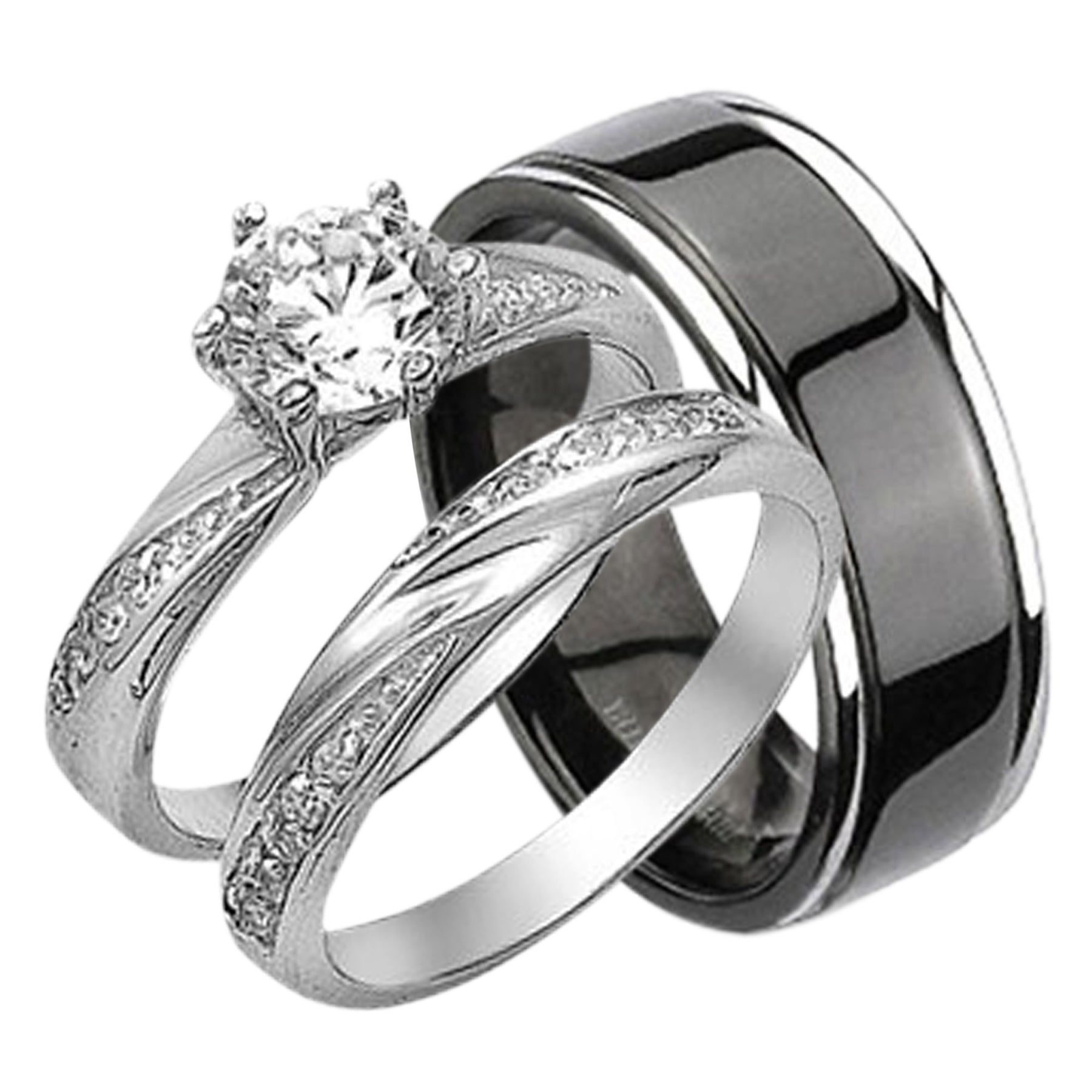 His And Hers Matching Wedding Bands Cheap.His Her Rings Cz Wedding Set His Black Titanium Hers Cubic Zirconia Wedding Bands