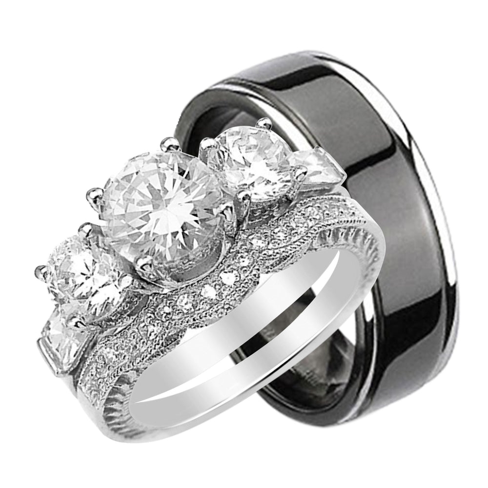Quality Bridal Ring Set For Him And Her Unique Silver Titanium