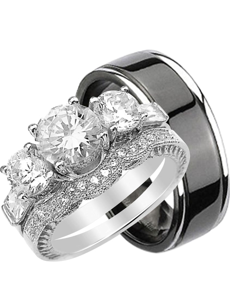His and Hers Wedding Rings Set Her Sterling Silver Black Plated Titanium Band for Him (10/11)