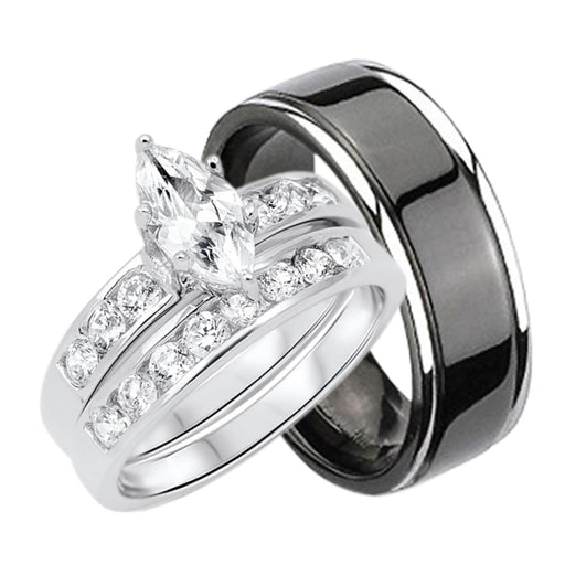 His and Her Wedding Set - HERS- Sterling Silver- HIS - Black Titanium