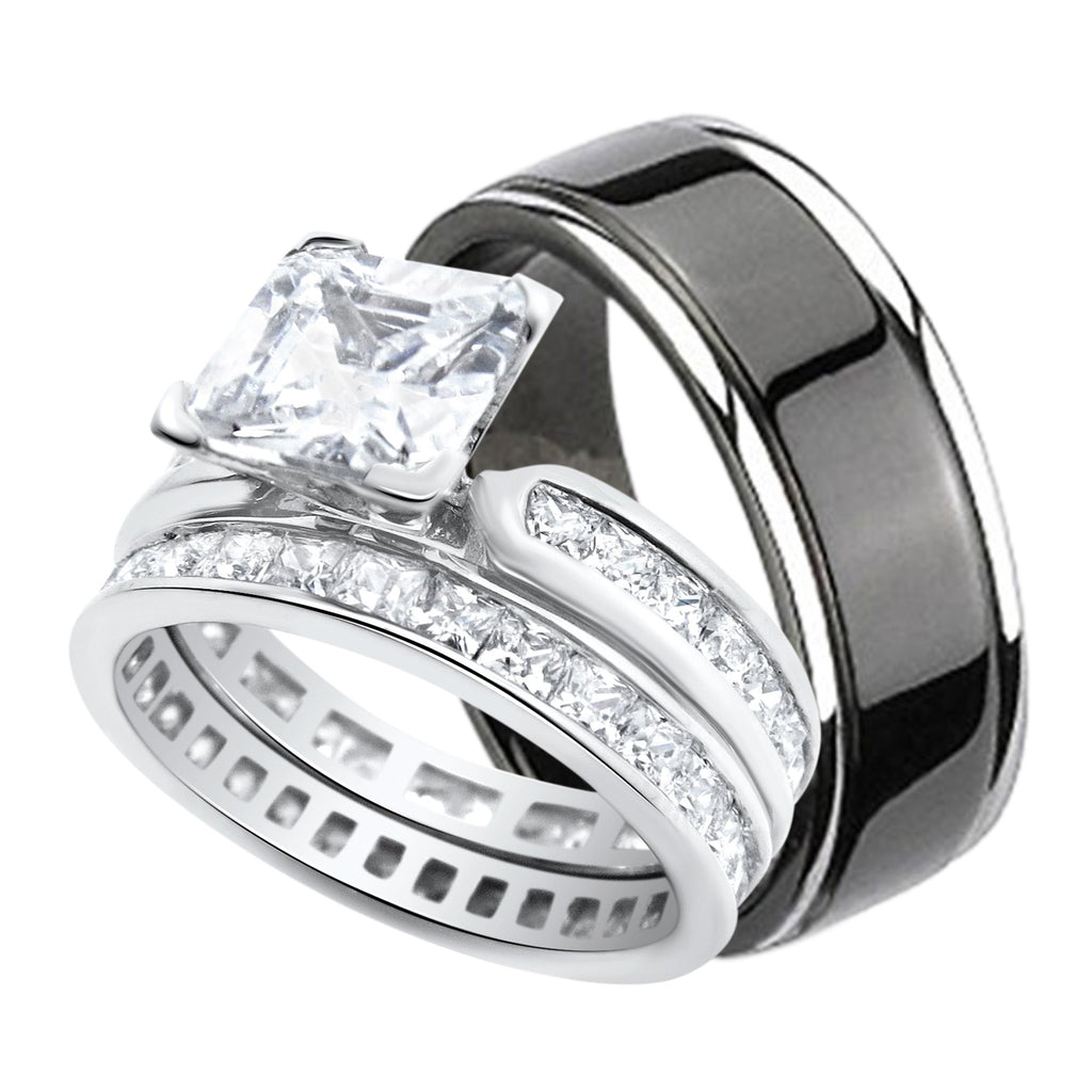 His and Hers Wedding Ring Set Black Titanium Silver Bands for Him ...