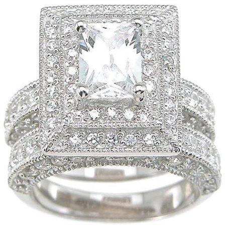 Huge CZ Wedding Engagement Ring Set