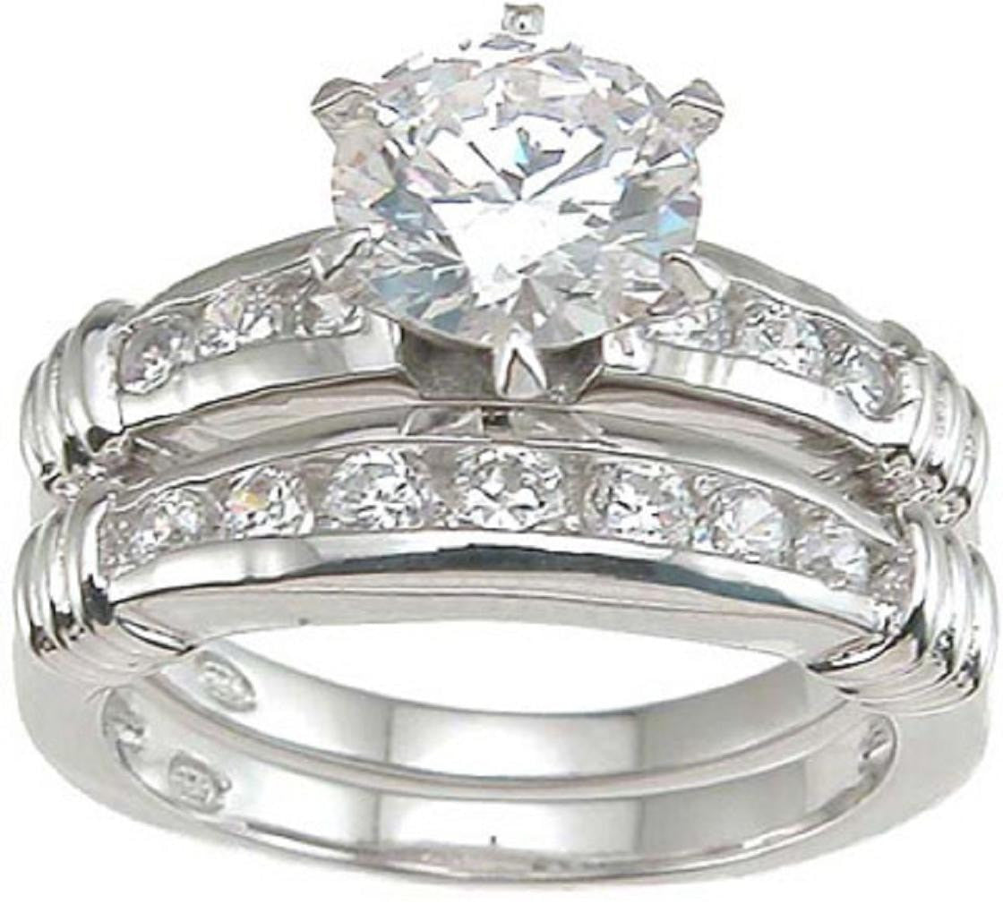 Solitaire Sterling Silver CZ Wedding Set - LaRaso & Co - 1