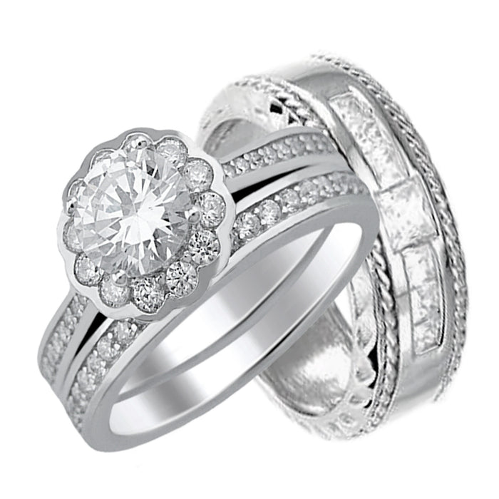 His and Her Wedding Rings Set Sterling Silver