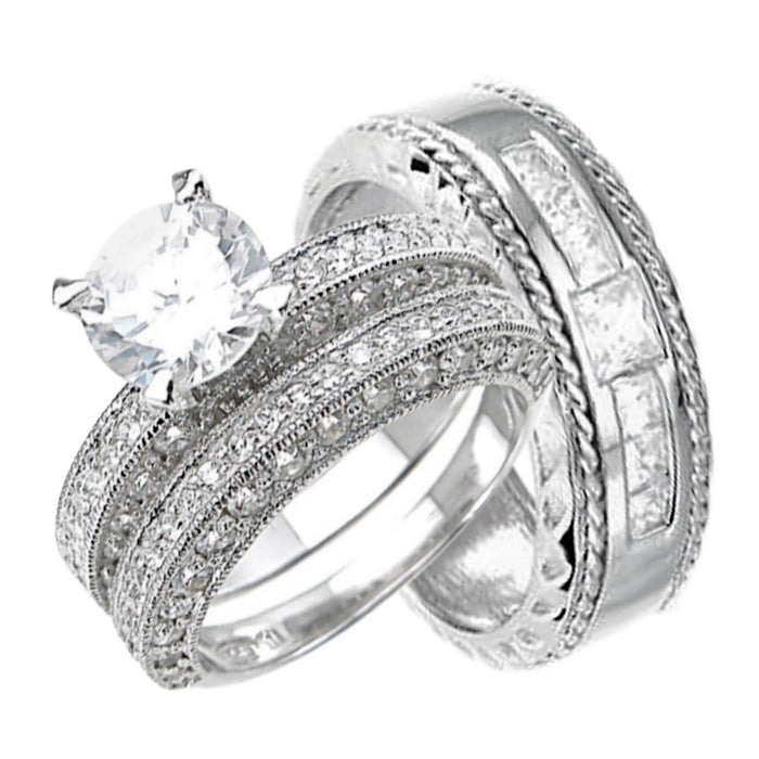 High Quality Cubic Zirconia His Her Wedding Rings Set in Sterling Silver