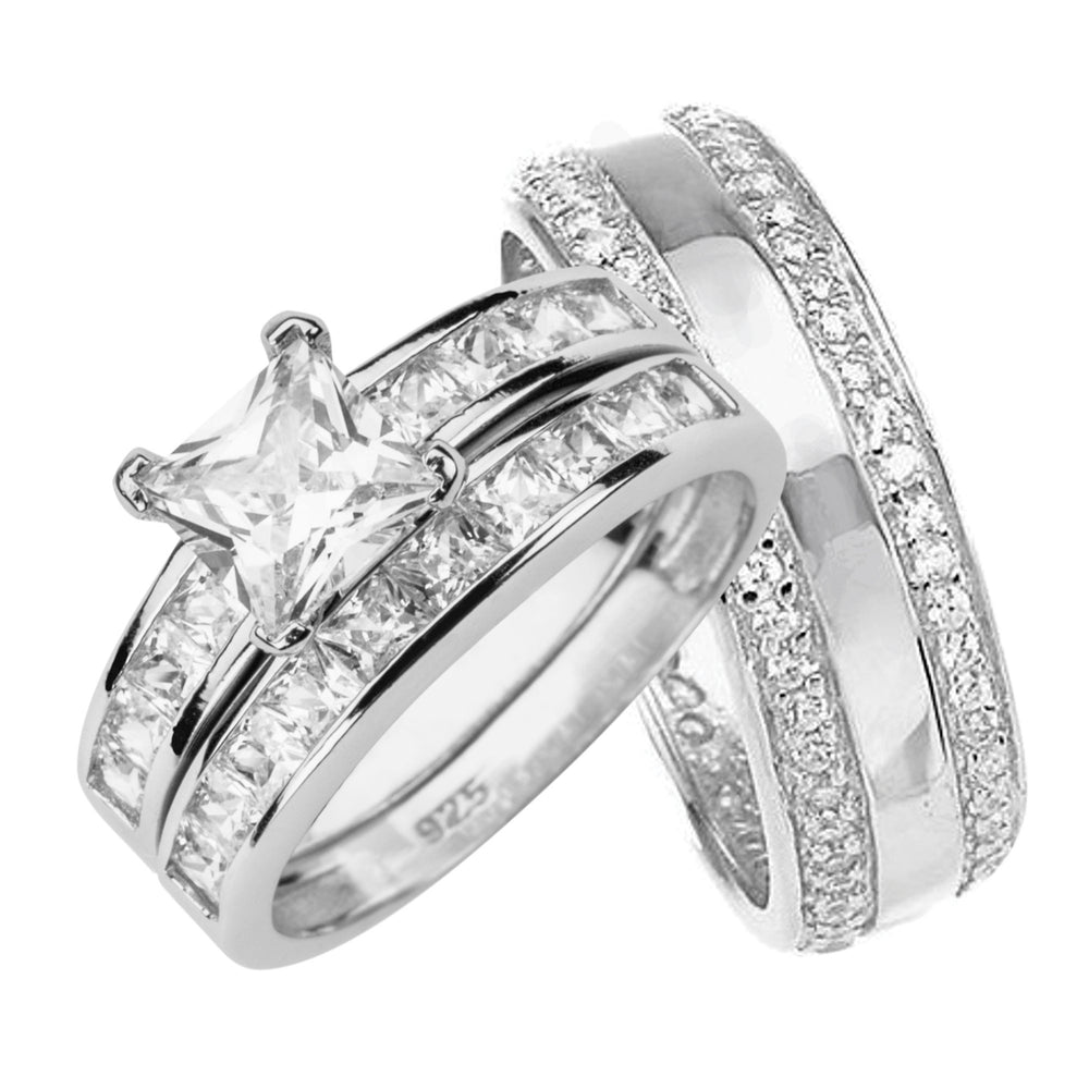 His and Her Wedding Ring Set in Sterling Silver