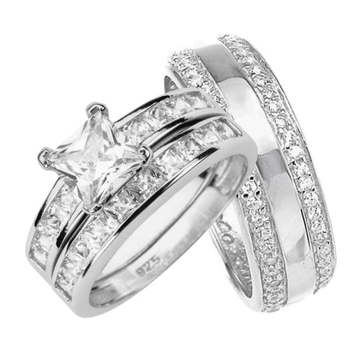 His and Her Wedding Ring Set STERLING SILVER for HIM and HER