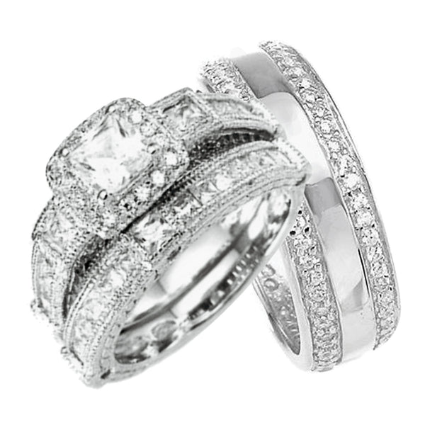His And Her Princess Cut Trio Wedding Rings Set Sterling Silver