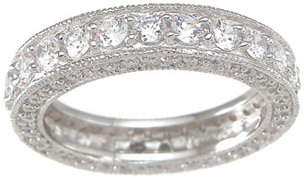 Vintage Style Sterling Silver CZ Wedding Anniversary Band Ring