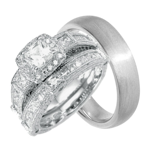 Classic His and Her Wedding Rings Set Sterling Silver