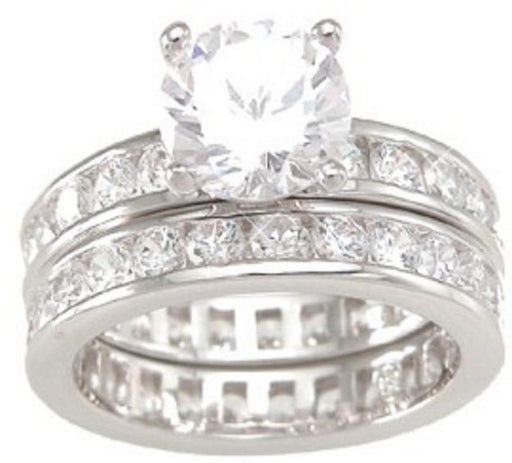Solitaire Round  CZ Cubic Zirconia Wedding Ring Set
