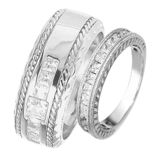 His and Hers Sterling Silver Wedding Bands Matching Rings