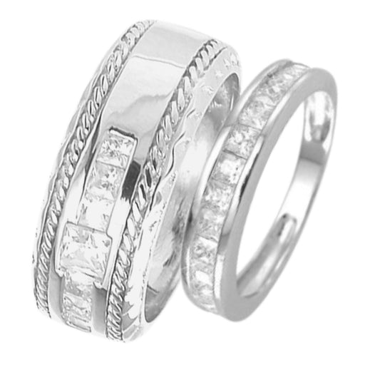 His and Hers Matching Wedding Band Silver Rings for Him Her