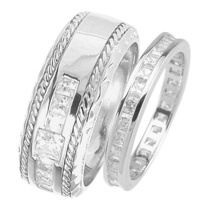 His Hers Wedding Rings Set Matching Sterling Silver Bands Him Her