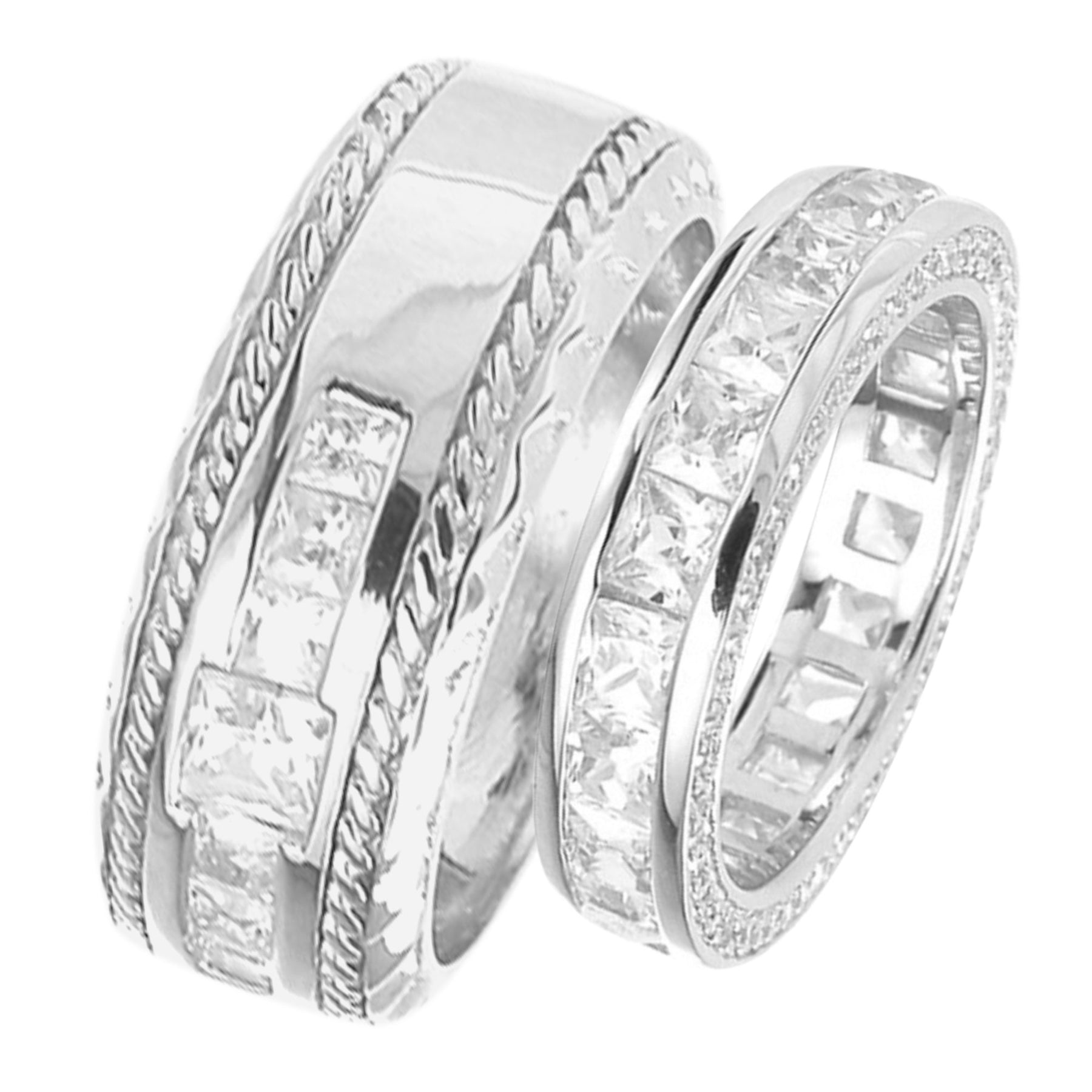 Affordable His Hers Wedding Rings Set Silver Matching Bands Him Her
