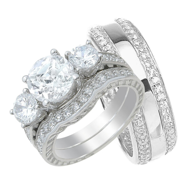 His and Her Brilliant Trio Wedding Rings Set Sterling Silver Wedding