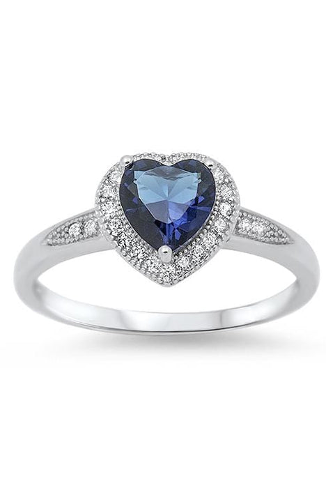 Realistic Simulated Sapphire Sterling Silver Wedding Engagement Ring Set