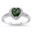 Realistic Simulated Emerald Green Sterling Silver Wedding Engagement Ring Set