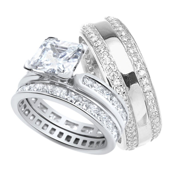 His and Her Wedding Rings Set Sterling Silver Wedding Bands for Him